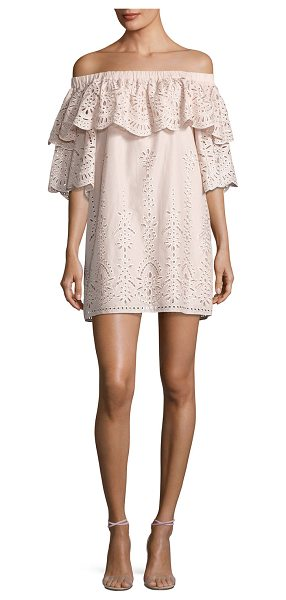 "Parker Cathy Eyelet Off-the-Shoulder Dress in blush - Parker ""Cathy"" embroidered-eyelet cotton dress with..."