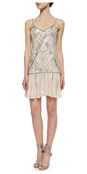 "Parker Devany beaded sleeveless dress in blush - Parker ""Devany"" dress with allover Art Deco beading...."