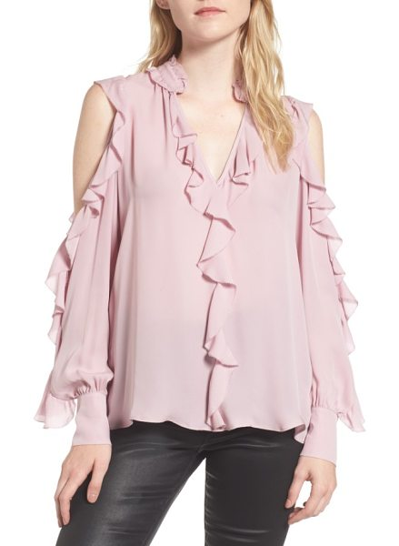 Parker elana ruffle silk blouse in dusty blush - Tiered ruffles float and flutter down this silk...