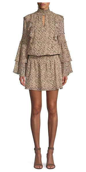 Parker eliana animal print blouson dress in mini camel jungle - Flirty ruffles highlight the popover silhouette of this...