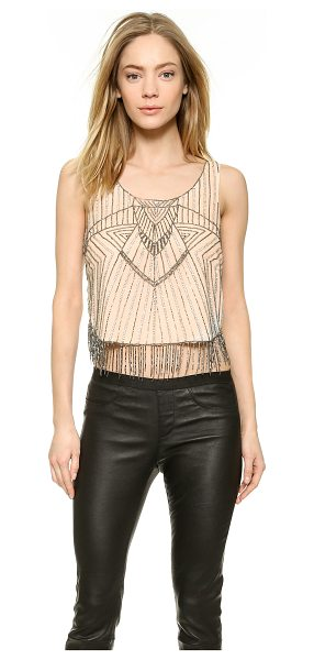 Parker Eliza tank in nude - Sequins and seed beads create art deco inspired patterns...