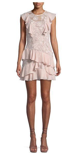 """Parker Gabriel Floral-Lace Combo Dress with Ruffled Frills in pink - Parker """"Gabriel"""" floral-lace dress with chiffon ruffled..."""