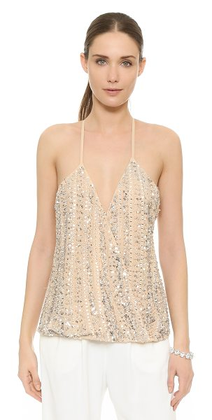 Parker Hartford sequin top in sand - A Parker wrap top with a flirty V neckline, embellished...