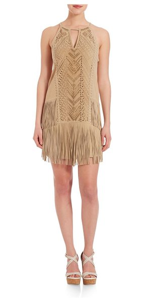 Parker Michael laser-cut suede dress in sand - Laser-cut suede drop-waist dress with fringe hemHalter...
