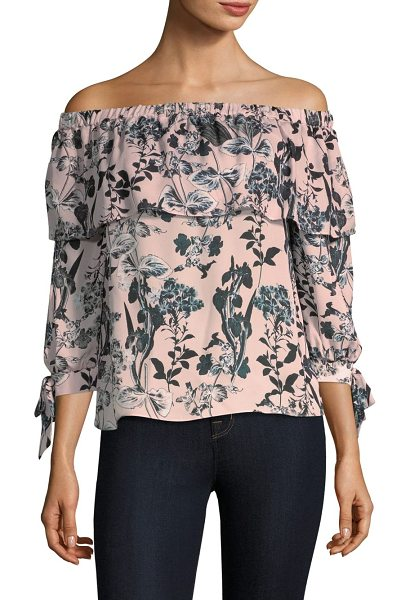 Parker mandy off-the-shoulder silk top in pearl paradise blush floral - Vintage floral print silk top finished with delicate...
