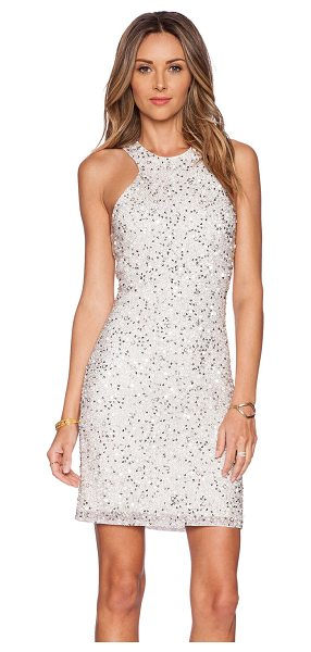 Parker Mariah sequin dress in metallic silver - Poly blend. Dry clean only. Fully lined. Beaded and...