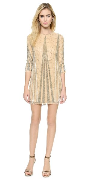 Parker Black michelle silk dress in nude - Cascading arrangements of intricate beads lend an exotic...
