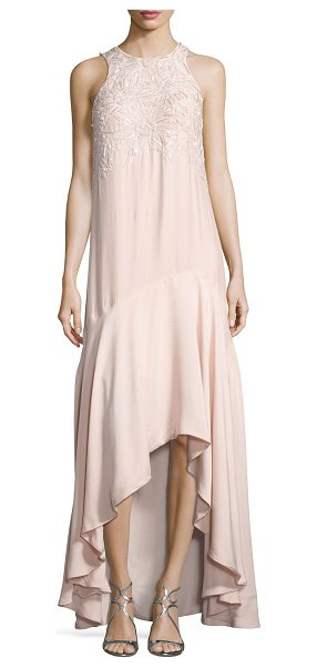 "Parker Black Mimi Sleeveless Beaded High-Low Gown in blush - EXCLUSIVELY AT NEIMAN MARCUS Parker ""Mimi"" evening gown..."