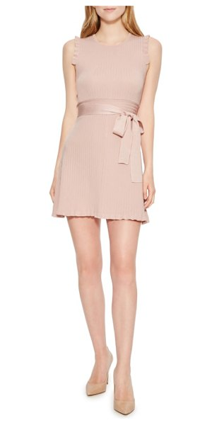 Parker renata knit dress in pink - A smooth sash ties up this rib-knit dress with modern...