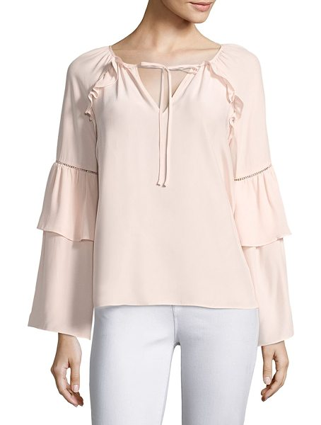 PARKER saturday bell sleeve silk blouse in blush - EXCLUSIVELY AT SAKS FIFTH AVENUE. Bell sleeve blouse...