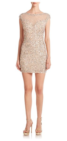 Parker Black sequin bodycon mini dress in nude