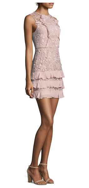 Parker zahara combo lace mini dress in pink - Finished with ruffled details at front and skirt....
