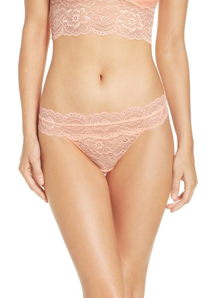 Passionata lulu thong in peach blossom - Romance meets comfort in this sheer stretch-lace thong.