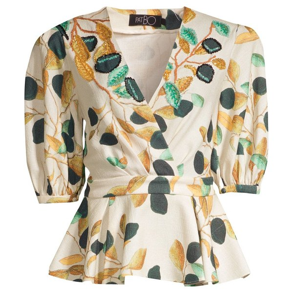 PatBO fruta print wrap blouse in cream - Flattering wrap blouse with romantic fruit print and...