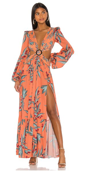 PatBO long sleeve cutout dress in heliconia coral