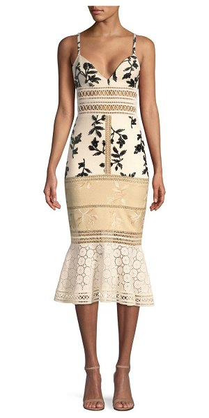 PatBO panama embellished midi dress in nude black - Crystal accented midi dress with hand-embroidered...