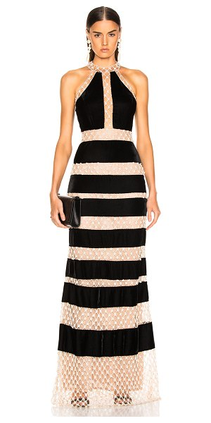 PatBO Pearl & Velvet Gown in black,neutral - Self: 50% poly 50% polyamide - Lining: 100% polyamide. ...