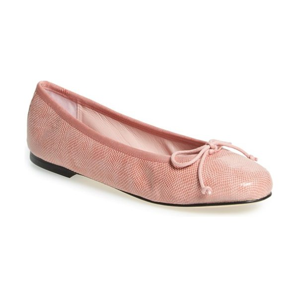 Patricia Green 'audrey' ballet flat in pink leather - Pretty grosgrain trims the topline of a well-cushioned...
