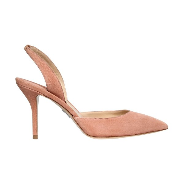 Paul Andrew 85mm rhea sling back suede pumps in blush - 85mm Suede covered heel . Back strap with elastic insert...