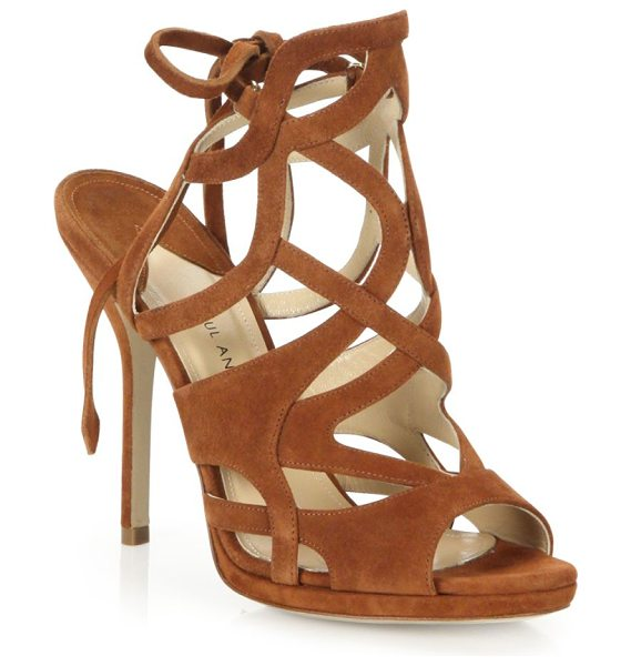 PAUL ANDREW ella cutout suede tie-back sandals in brown - Intricately cutout suede sandal with back ankle ties....