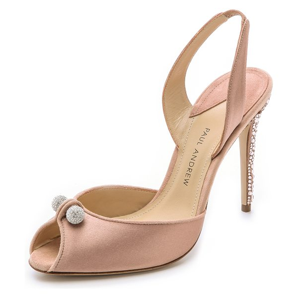 Paul Andrew Orbit heels in blush - Glamorous satin Paul Andrew sandals with a charming,...