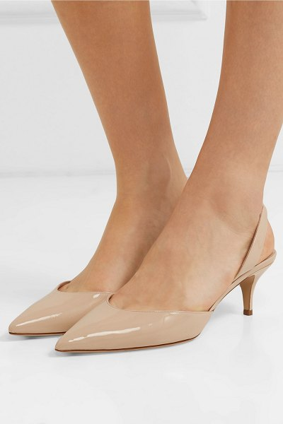 Paul Andrew rhea patent-leather slingback pumps in beige - Paul Andrew's cult 'Rhea' pumps are perfectly in tune...