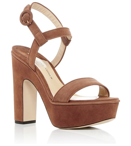 Paul Andrew Stanton Platform Sandals in tan - Known for his modern sexy designs-he won the CFDA/Vogue...