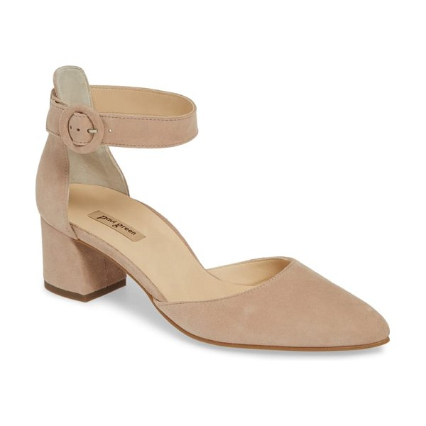 Paul Green annie ankle strap pump in beige - A covered round buckle is the perfect finishing touch to...