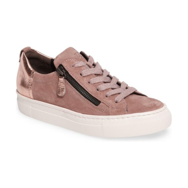 Paul Green side zip sneaker in rose combo leather - Glitter and patent accents highlight a mixed-finish...