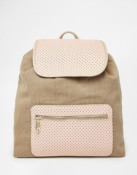 Paul & Joe Sister Canvas mix backpack in beige - Cart by Paul & Joe Sister Cotton-rich canvas Perforated...