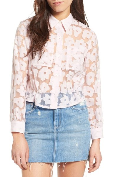 PAUL & JOE SISTER crop burnout shirt in rose - Cropped to pair perfectly with high-waisted styles, this...