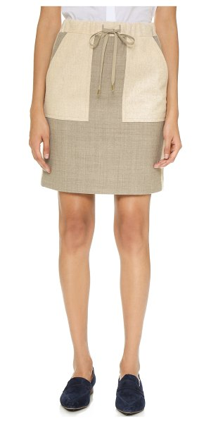 Paul Smith Paneled drawstring skirt in tan/slate grey - A simple Paul Smith skirt in a soft wool blend. Muted...
