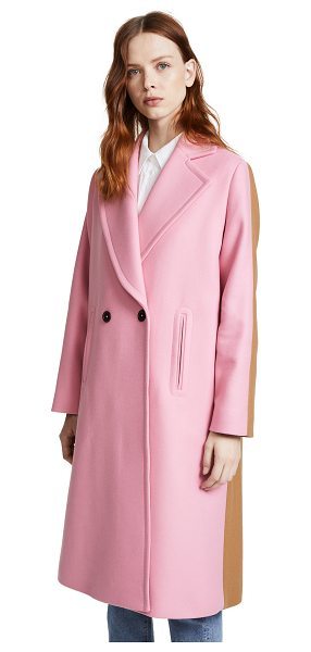 Paul Smith two tone coat in powder pink - Clean lines give this Paul Smith overcoat classic...