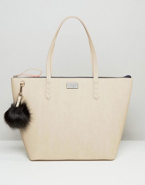 Pauls Boutique Conner croc tote in nude with fur pom in beige - Cart by Paul's Boutique, Faux-leather outer,...