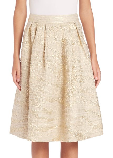 PAUW pleated metallic jacquard skirt in gold - Pleated skirt made luminous in metallic jacquard. Banded...
