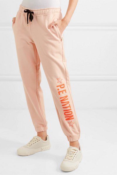 P.E NATION exposure printed french cotton-terry track pants in blush