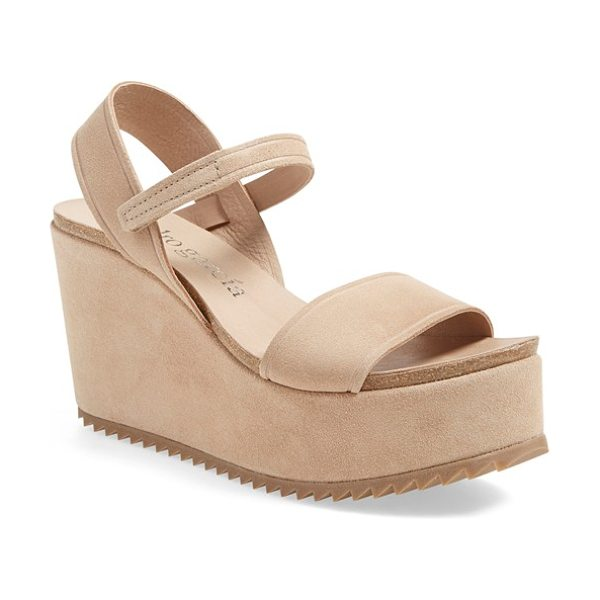 Pedro Garcia dorothy wedge in light camel suede - Razored treads and a bold, covered wedge and platform...