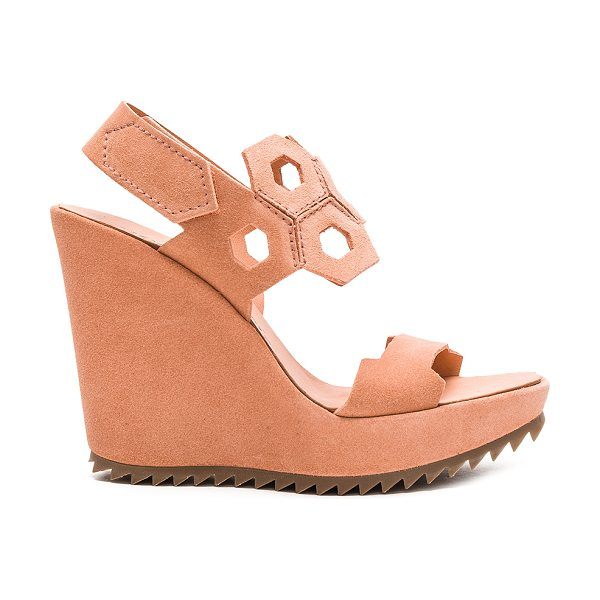 Pedro Garcia Velda heel in rose - Suede upper with man made sole. Ankle strap with velcro...