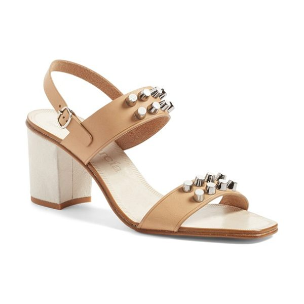 Pedro Garcia xanet studded slingback sandal in beige leather - Rows of regimented studs mark the ankle and toe straps...
