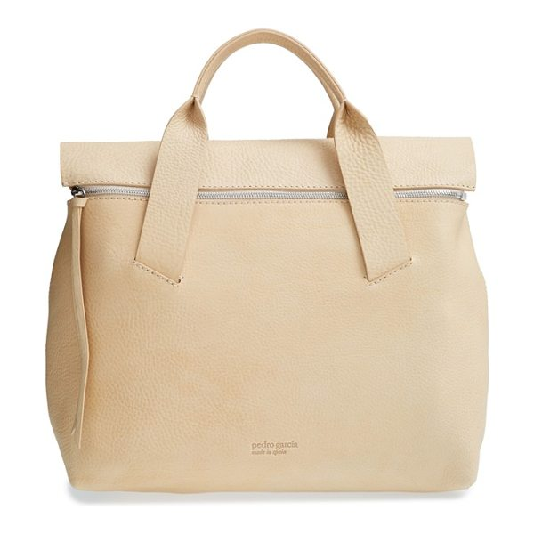 Pedro Garcia Zip flap leather tote in ecru cervo - With its clean, modern design and softly structured...