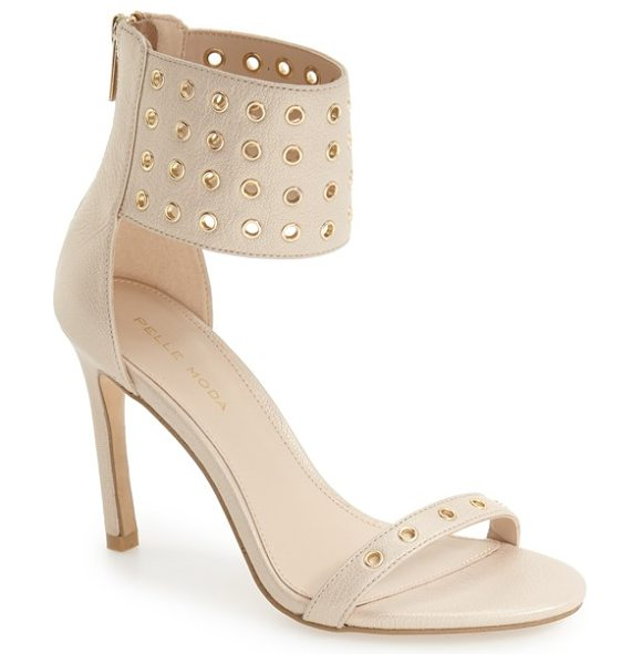 Pelle Moda 'ansley2' cuff sandal in cream leather - Peekaboo grommets punctuate the towering ankle cuff and...