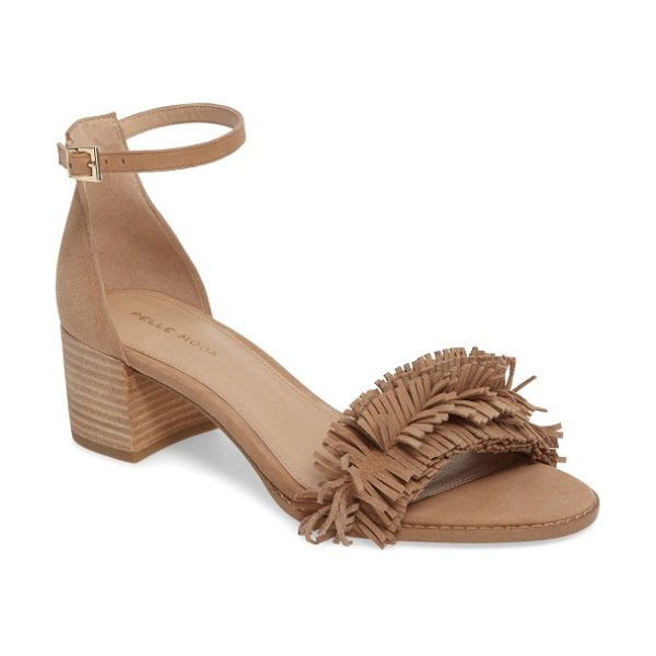 Pelle Moda april fringe sandal in latte leather - Soft fringe at the toe strap draws attention to your...