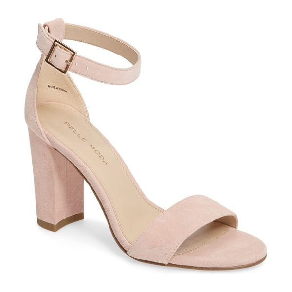 Pelle Moda 'bonnie' ankle strap sandal in pale pink leather - A minimalist ankle-strap sandal crafted in lush suede...
