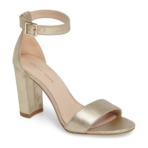 Pelle Moda bonnie ankle strap sandal in platinum gold leather - A minimalist ankle-strap sandal crafted in lush suede...