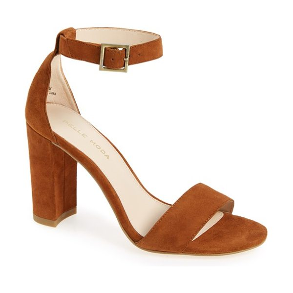 Pelle Moda 'bonnie' ankle strap sandal in cognac suede - A minimalist ankle-strap sandal crafted in lush suede...