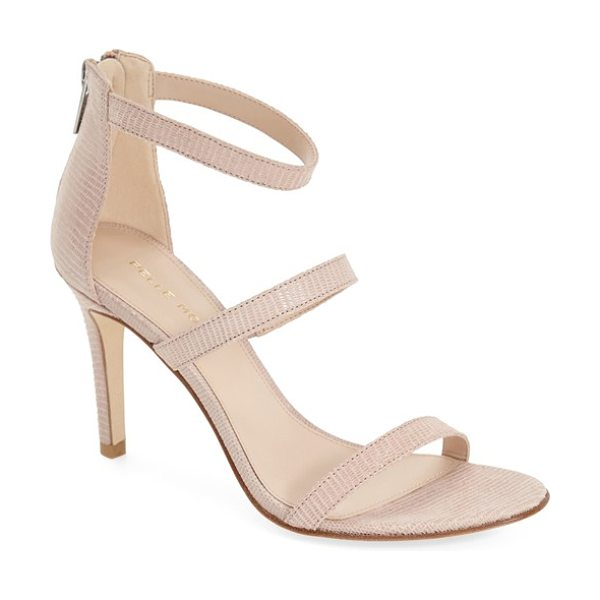 Pelle Moda dalia three strap sandal in nude snake printed leather