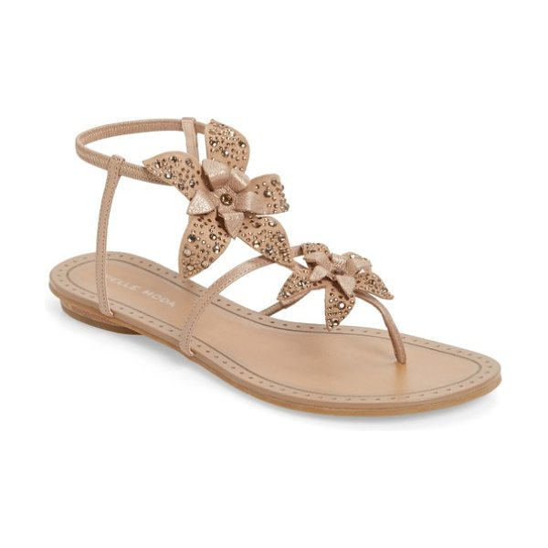 Pelle Moda ellis strappy flowered sandal in walnut leather - Layered flowers bloom along slender leather vines on a...