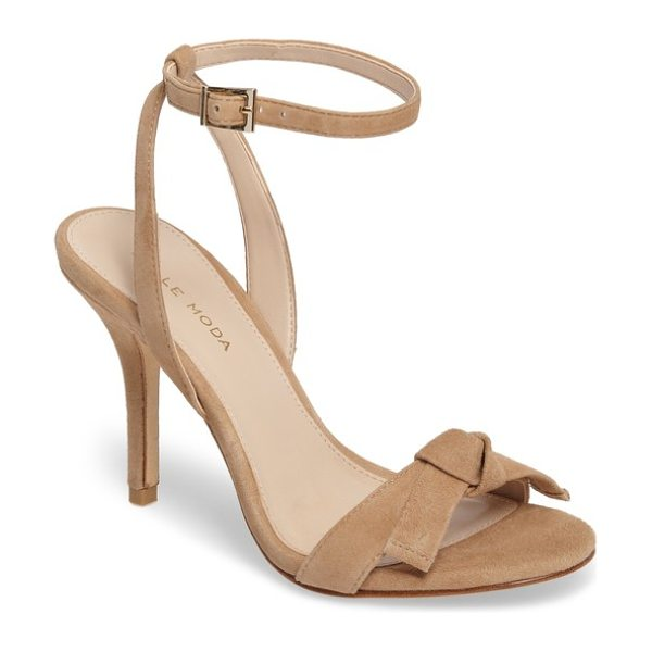 Pelle Moda kim 2 ankle strap sandal in latte suede - A slim bow adorns the toe-strap of a slender ankle-strap...