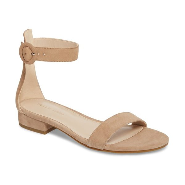 Pelle Moda newport sandal in sand suede - A minimalist flat sandal with a flexible sole is styled...