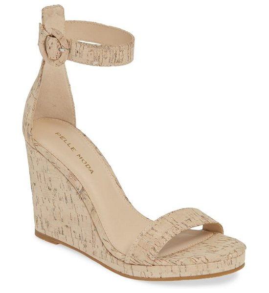 Pelle Moda nisha wedge sandal in beige - A covered ring buckle secures the ankle strap on a curvy...